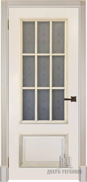 Межкомнатная дверь Британия, эмаль слоновая кость и патина золото (стекло)