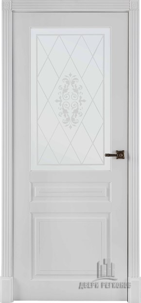 Межкомнатная дверь Турин - эмаль белая (стекло)