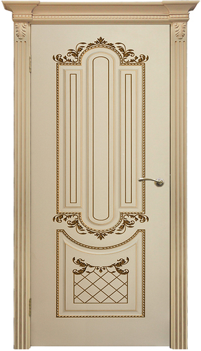 Межкомнатная дверь Карина 4 RAL 9001 патина золото (глухая)