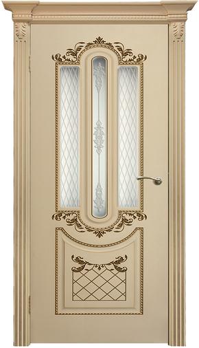 Межкомнатная дверь Карина 4 RAL 9001 патина золото (стекло)