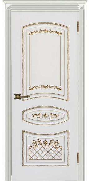 Межкомнатная дверь Карина-3, эмаль белая и патина золото (глухая)