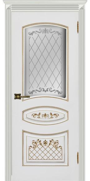Межкомнатная дверь Карина-3, эмаль белая и патина золото (стекло)