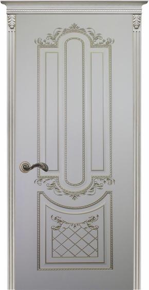 Межкомнатная дверь Карина-4, эмаль белая и патина серебро (глухая)
