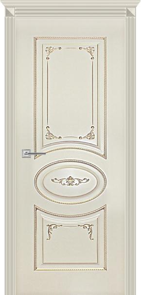 Межкомнатная дверь Карина-8, эмаль ваниль и патина перламутр (глухая)