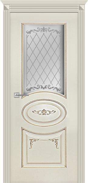Межкомнатная дверь Карина-8, эмаль ваниль и патина перламутр (стекло)