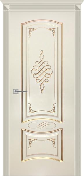 Межкомнатная дверь Карина-11, эмаль ваниль и патина перламутр (глухая)