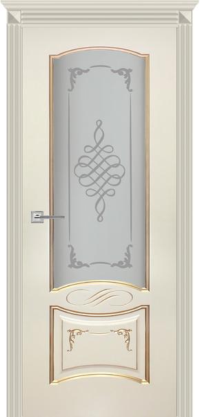 Межкомнатная дверь Карина-11, эмаль ваниль и патина перламутр (стекло)