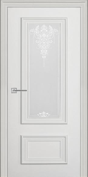 Межкомнатная дверь Премьер-1, эмаль белая, багет (стекло)
