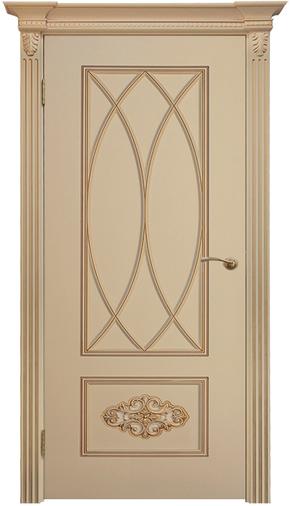 Межкомнатная дверь Флоренция-2 RAL 9001, патина золото (глухая)