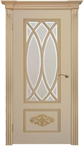 Межкомнатная дверь Флоренция-2 RAL 9001, патина золото (стекло)