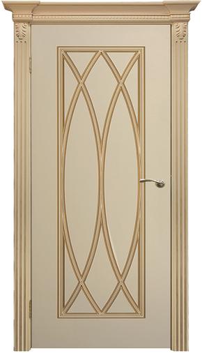 Межкомнатная дверь Флоренция-3 RAL 9001, патина золото (глухая)