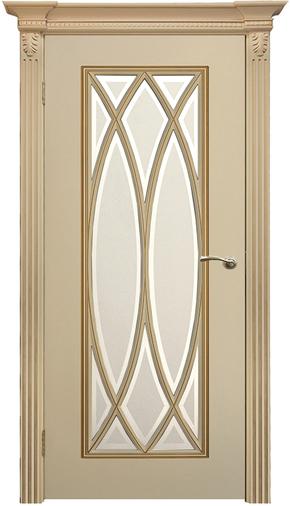 Межкомнатная дверь Флоренция-3 RAL 9001, патина золото (стекло)