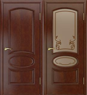 Межкомнатная дверь Атина (темный анегри) - стекло