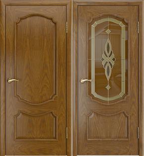 Межкомнатная дверь Виктория (дуб бренди) - стекло