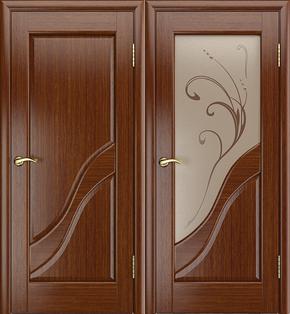 Межкомнатная дверь Глория (темный орех) - стекло